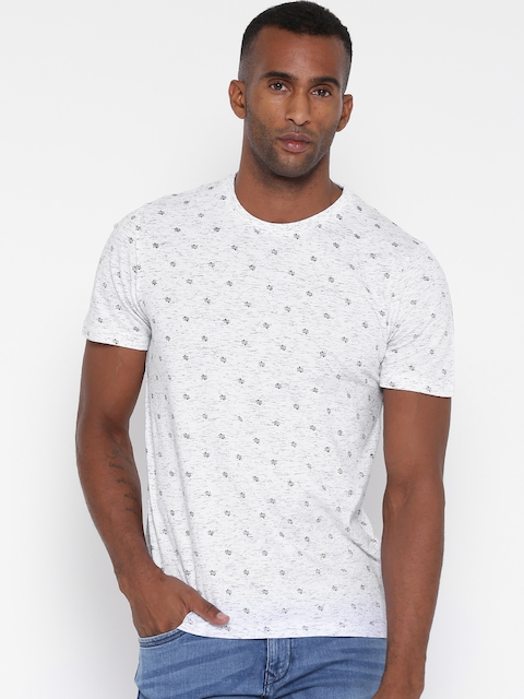 Monte Carlo Men Off-White Printed Round Neck T-shirt