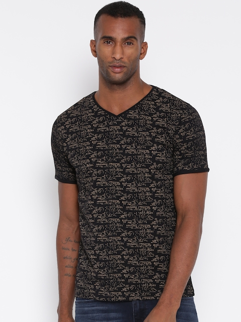 Monte Carlo Men Black Printed V-Neck T-shirt