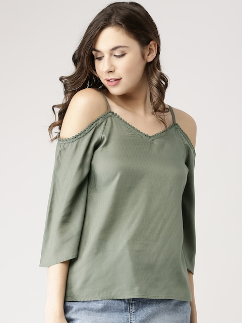 Marie Claire Women Olive Green Solid Cold Shoulder Top
