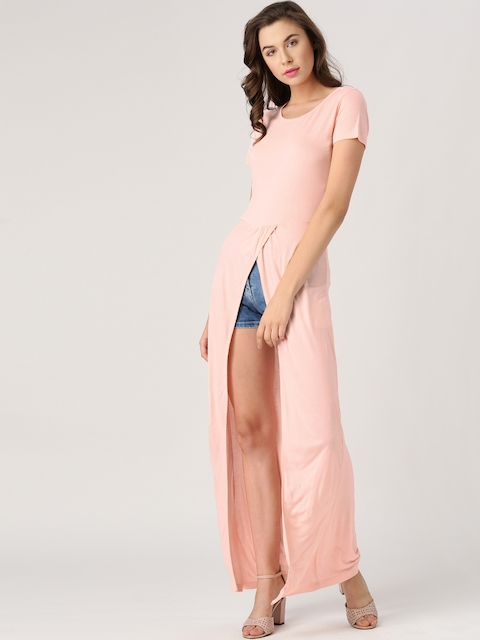 Marie Claire Women Pink Solid High Slit Maxi Top