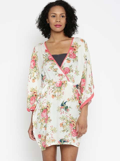 da16b562c3 The Kaftan Company Off-White & Pink Floral Print Kaftan Cover-Up Dress  RW_HAWAII004
