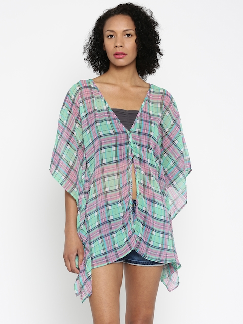 de8972cac9 The Kaftan Company Green & Pink Checked Sheer Kaftan Cover-Up Dress  RW_HAWAII009