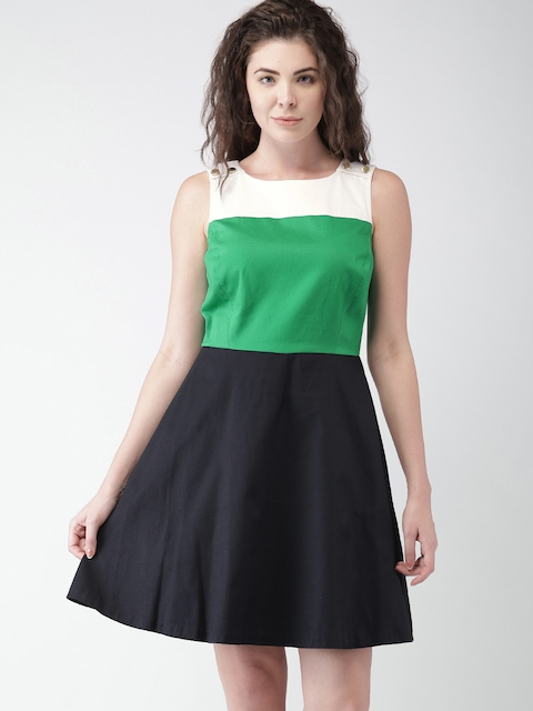 Tommy Hilfiger Women Navy & Green Colourblocked A-Line Dress