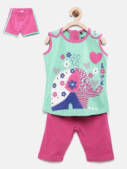 Sweet Dreams Girls Green & Pink Printed Nightsuit 411316
