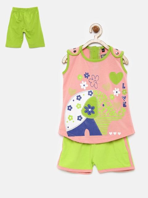 Sweet Dreams Girls Peach-Coloured & Green Printed Nightsuit 411316