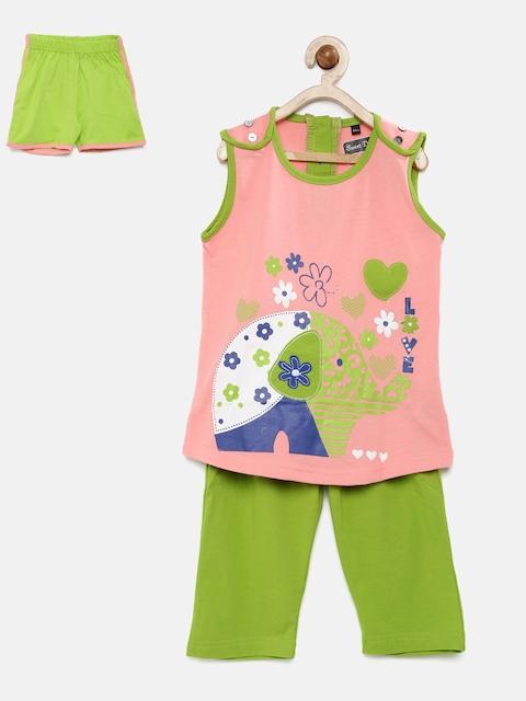 Sweet Dreams Girls Pink & Green Printed Night Suit 411316