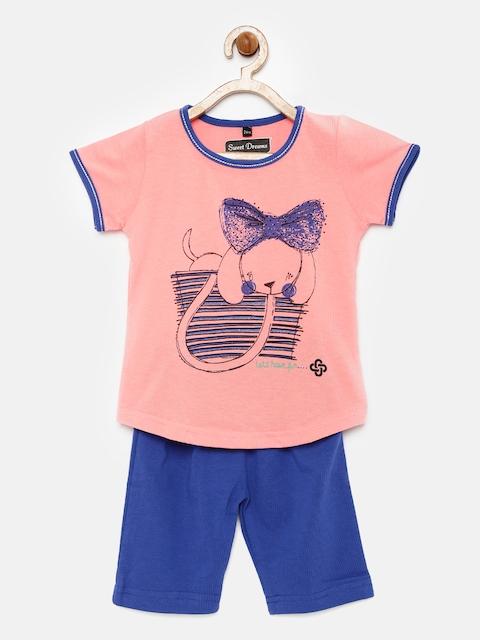 Sweet Dreams Girls Pink & Blue Printed Nightsuit 413416