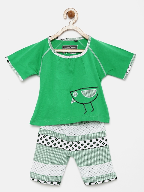 Sweet Dreams Girls Green & White Printed Nightsuit 4120A5