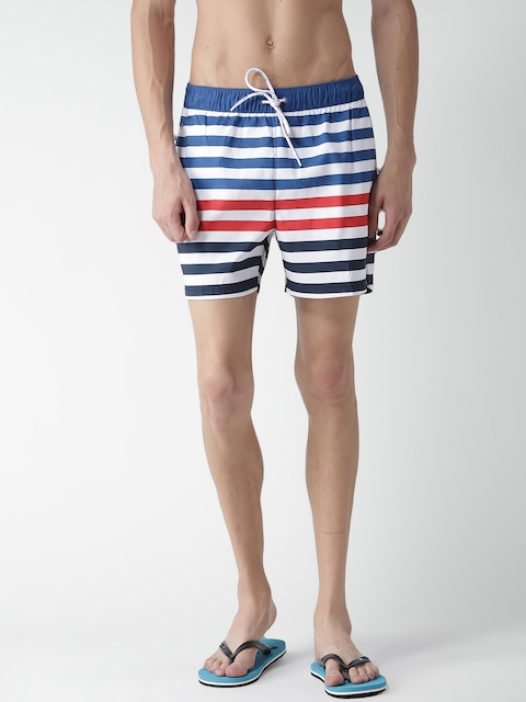Tommy Hilfiger Men Blue Striped Surfing Shorts
