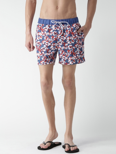 Tommy Hilfiger Men Blue & White Printed Sports Shorts
