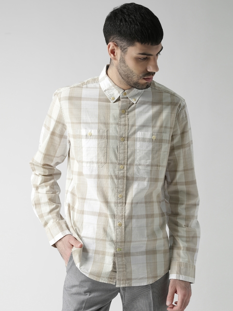 Tommy Hilfiger Men Beige & Off-White Checked Casual Shirt