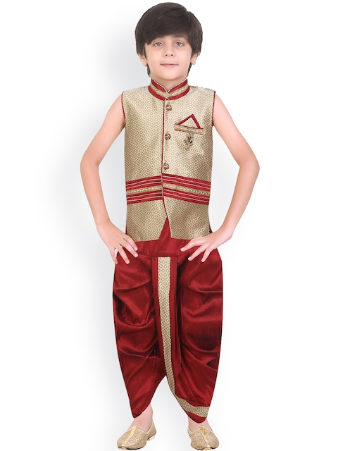 Jeetethnics Boys Maroon & Beige Silk Dhoti Set