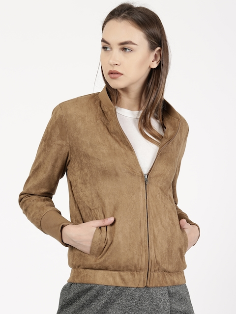 ether Women Brown Solid Jacket