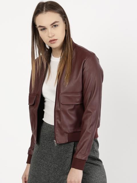 ether Women Burgundy Solid Jacket