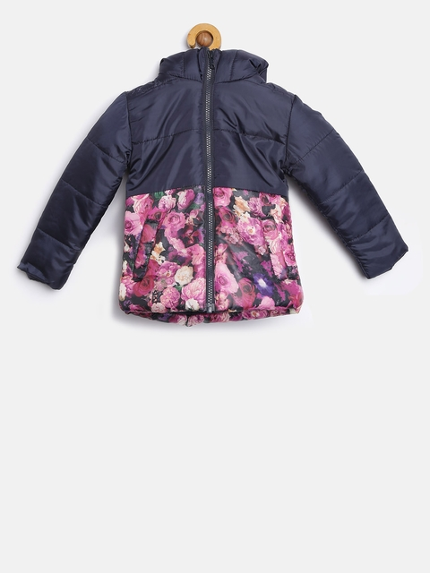 YK Girls Navy Floral Print Hooded Padded Jacket
