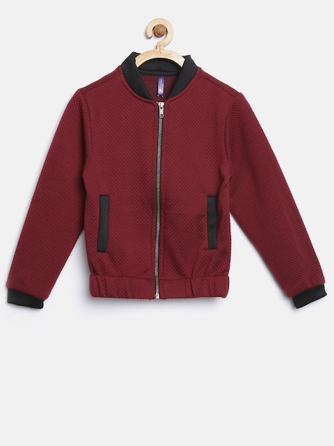 YK Girls Maroon Self-Design Bomber Jacket