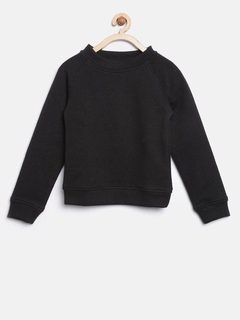 YK Girls Black Self Design Sweatshirt