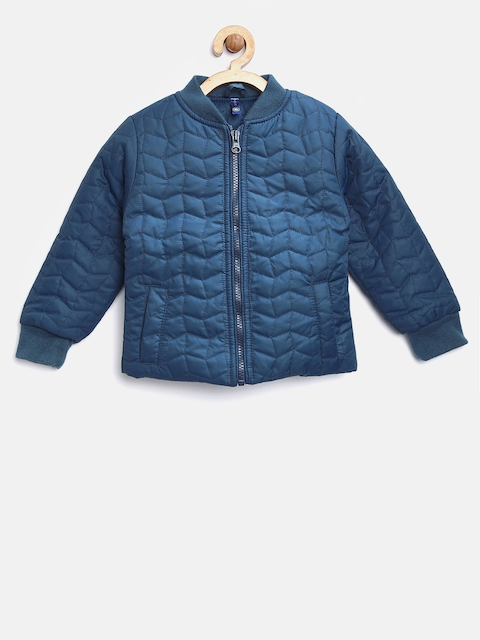 YK Girls Teal Blue Solid Quilted Jacket