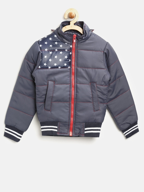 YK Boys Navy Solid Bomber Jacket with Detachable Hood