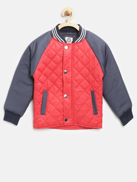 YK Boys Red Solid Quilted Jacket