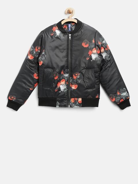 YK Girls Black Printed Bomber Jacket