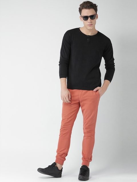 Mast & Harbour Men Black Solid Pullover