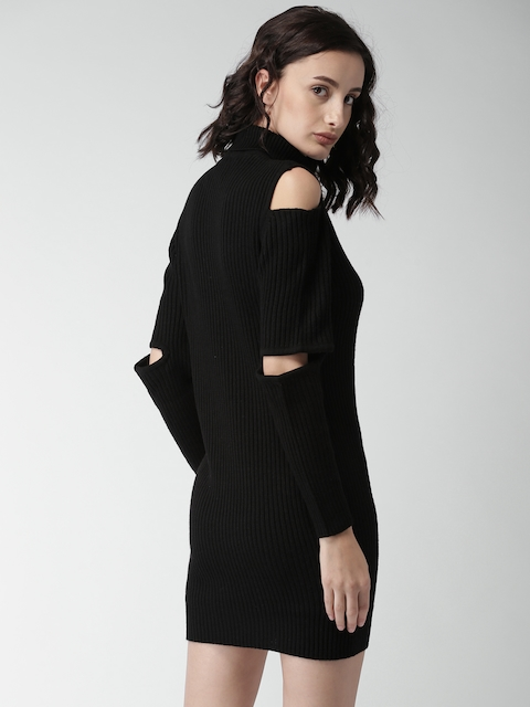 Mast & Harbour Women Black Striped Sweater Dress