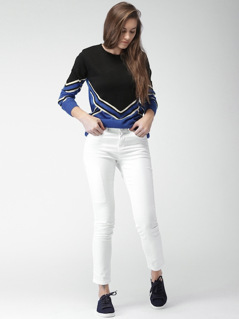 Mast & Harbour Women Black & Blue Colourblocked Pullover