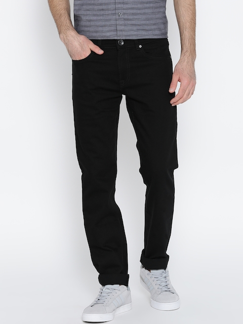 Pepe Jeans Men Black Hatch Regular Fit Low-Rise Clean Look Stretchable Jeans