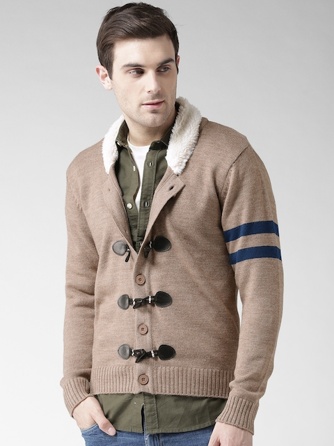Mast & Harbour Men Beige Solid Cardigan