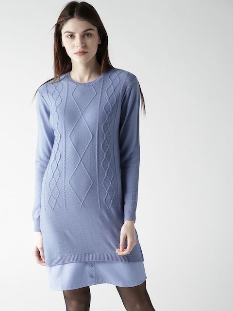 Mast & Harbour Women Blue Self Design Sweater