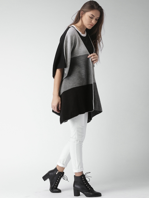 Mast & Harbour Women Black & Grey Colourblocked Front-Open