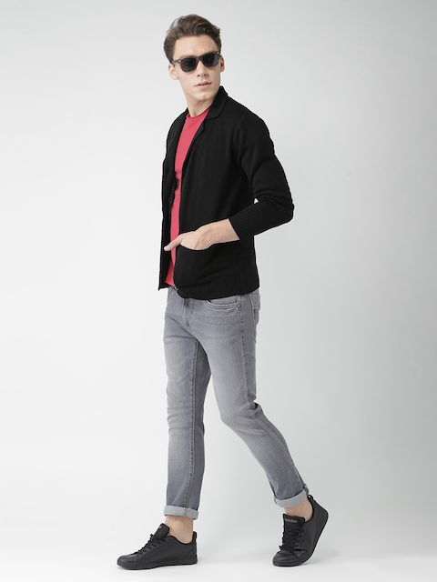 Mast & Harbour Men Black Solid Cardigan