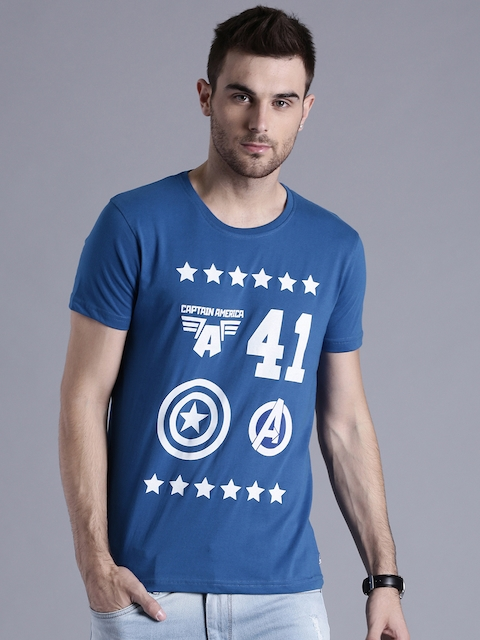 Kook N Keech Marvel Men Blue Printed Round Neck T-shirt  available at myntra for Rs.209
