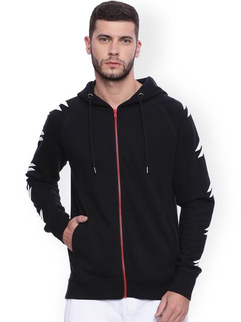 ATTIITUDE Black Printed Hooded Longline Sweatshirt