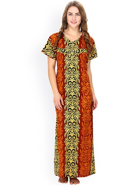 Secret Wish Yellow & Rust Brown Printed Maternity Maxi Nightdress NT-E47-339