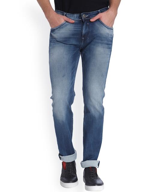 Mufti Men Blue Narrow Fit Acid Wash Jeans