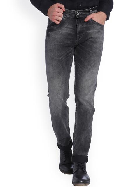 Mufti Men Black Washed Slim Fit Jeans