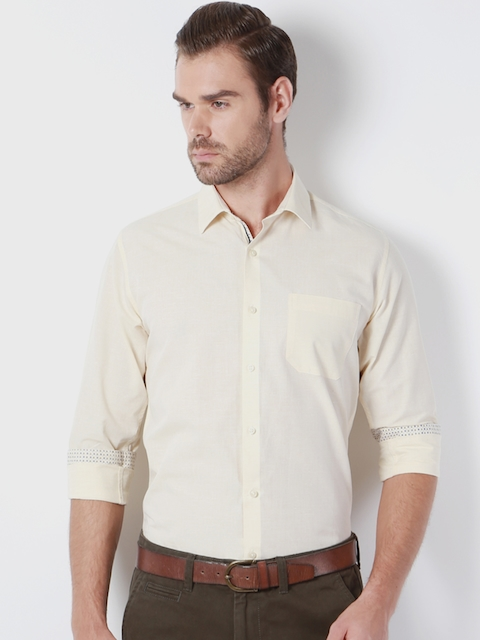 Peter England Men Yellow Classic Fit Solid Formal Shirt