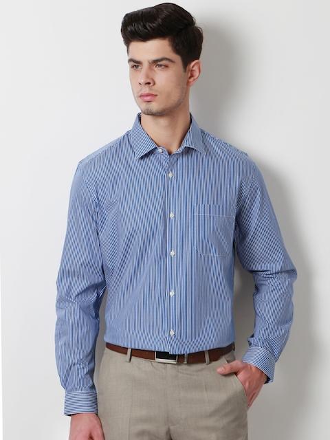 Peter England Men Blue Slim Fit Striped Formal Shirt
