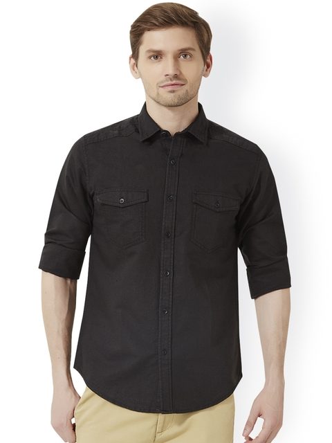 Peter England Men Coffee Brown Slim Fit Solid Casual Shirt