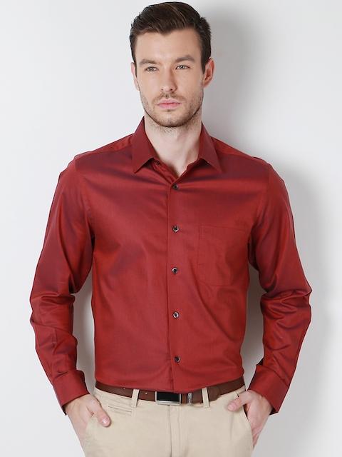 Peter England Men Red Slim Fit Solid Formal Shirt