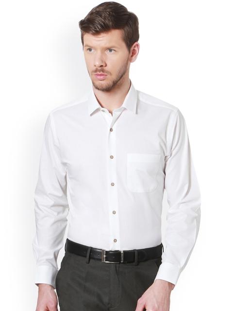 Peter England Men White Solid Slim Fit Formal Shirt