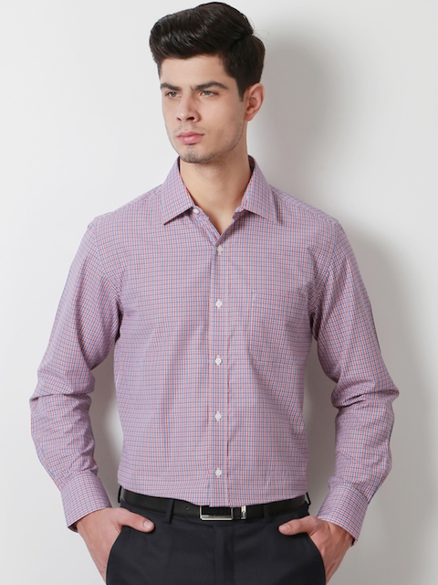 Peter England Men Navy & Red Slim Fit Checked Casual Shirt