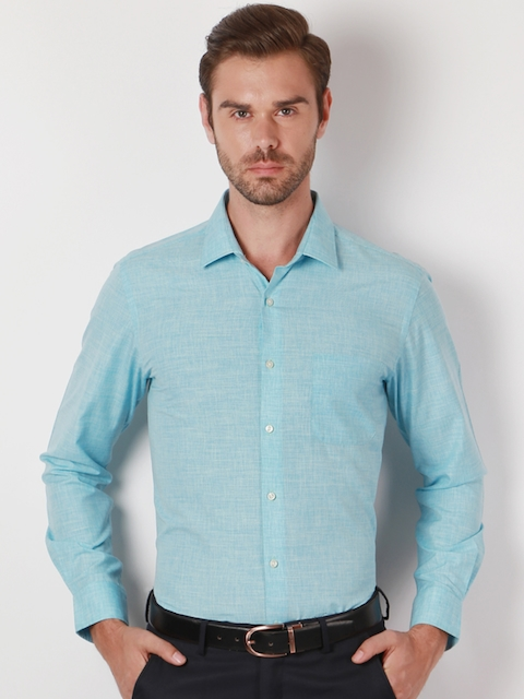 Peter England Men Blue Slim Fit Solid Casual Shirt