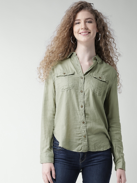 FOREVER 21 Women Olive Green Solid Shirt