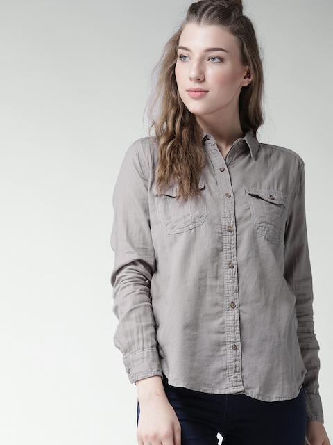FOREVER 21 Women Grey Solid Casual Shirt