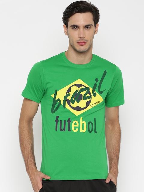 Umbro Men Green Printed Round Neck T-shirt