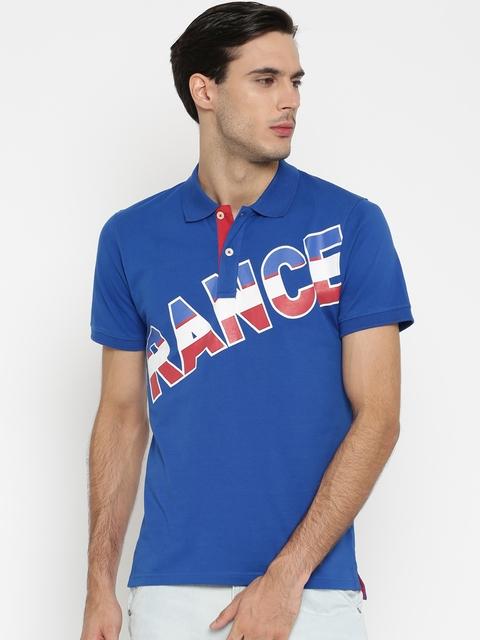 Umbro Men Blue Printed Polo Collar T-shirt