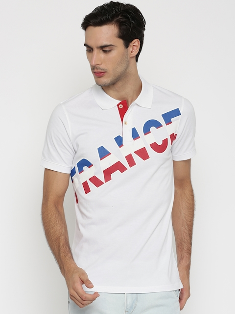 Umbro Men White Printed Polo Collar T-shirt